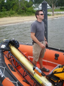 Adam Skarke from the University of Delaware getting ready to deploy the Gavia vehicle